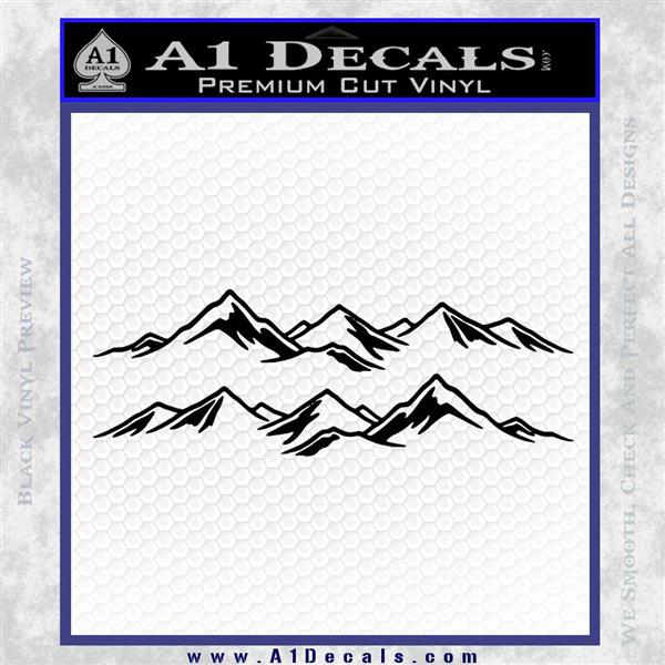 Mountain Range Decal Sticker Outdoors Hiking Nature 2 Pack Black Vinyl Logo Emblem