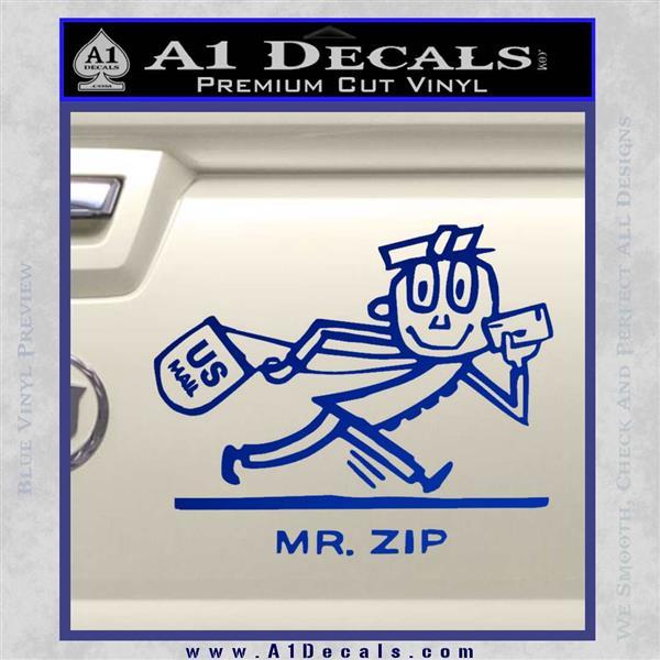 Mr Zip USPS Decal Sticker Post Office Blue Vinyl