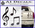 Music Notes D3 Decal Sticker Carbon Fiber Black 120x97