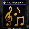 Music Notes D3 Decal Sticker Metallic Gold Vinyl 120x120