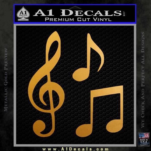 Music Notes D3 Decal Sticker Metallic Gold Vinyl