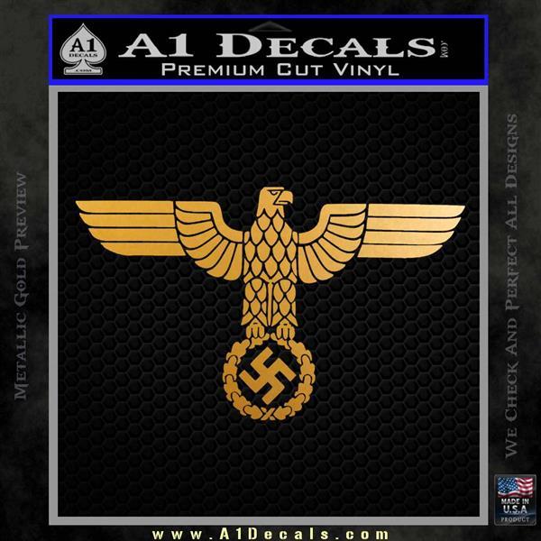 Nazi Eagle Swastika DNS Decal Sticker NSDAP Metallic Gold Vinyl