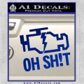 Oh Shit Check Engine Light Decal Sticker Blue Vinyl 120x120