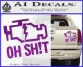 Oh Shit Check Engine Light Decal Sticker Purple Vinyl 120x97