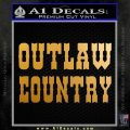 Outlaw Country Decal Sticker Stacked Metallic Gold Vinyl 120x120