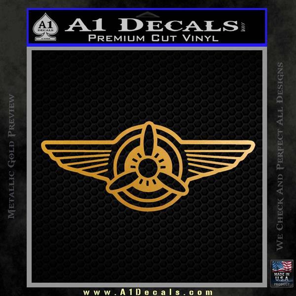 Pilot Wings Decal Sticker D1 Metallic Gold Vinyl