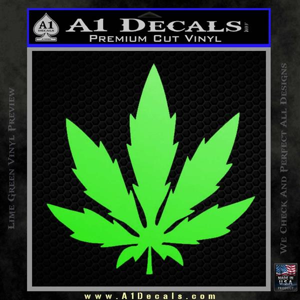 Pot Leaf DN Decal Sticker Weed SL Lime Green Vinyl