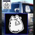 Pusheen Decal Sticker Cat Kitty Pizza Time D2 White Vinyl Emblem 120x120