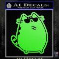 Pusheen Decal Sticker Cat Kitty Sunglasses Stand D2 Lime Green Vinyl 120x120