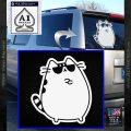Pusheen Decal Sticker Cat Kitty Sunglasses Stand D2 White Vinyl Emblem 120x120