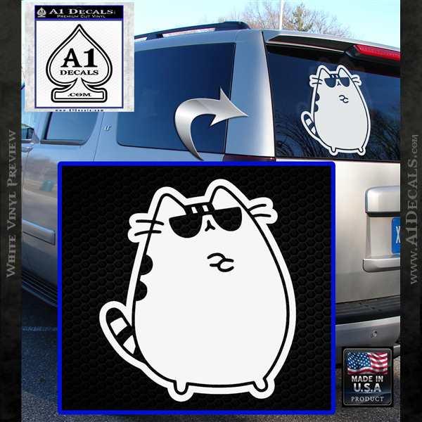 Pusheen Decal Sticker Cat Kitty Sunglasses Stand D2 White Vinyl Emblem