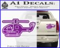 Pusheen Helicopter Decal Sticker Medic Paramedic Pilot Purple Vinyl 120x97