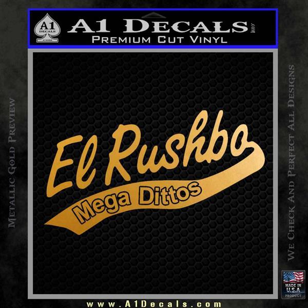 Rush Limbaugh Decal Sticker El Rushbo Metallic Gold Vinyl