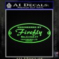Serenity Name Plate Decal Sticker 03 K64 Firefly Lime Green Vinyl 120x120