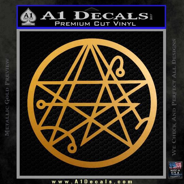 Sigil of the Gateway of Cthulu Necronomicon Decal Sticker Metallic Gold Vinyl