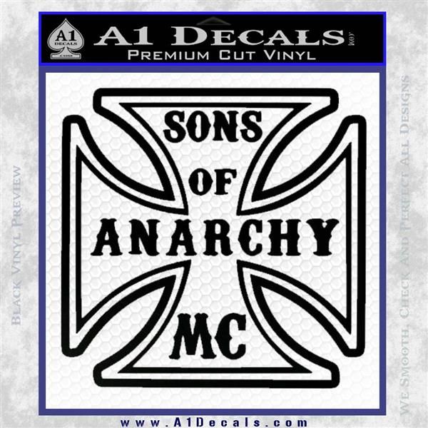 Sons of Anarchy Decal Sticker Iron Cross Black Vinyl Logo Emblem