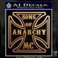 Sons of Anarchy Decal Sticker Iron Cross Metallic Gold Vinyl 120x120