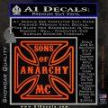 Sons of Anarchy Decal Sticker Iron Cross Orange Vinyl Emblem 120x120