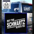 Spaceballs May The Schwartz Be With You Decal Sticker White Vinyl Emblem 120x120