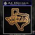 Texas Decal Sticker Outline V4 Metallic Gold Vinyl 120x120