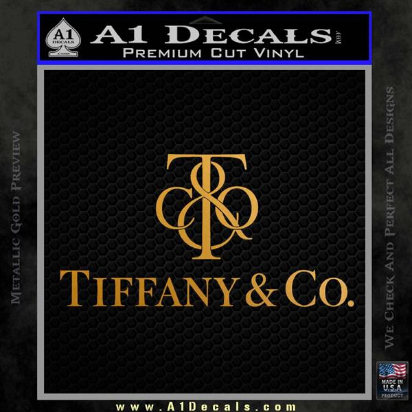 Tiffany Co. Decal Sticker Logo Stacked Metallic Gold Vinyl