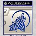 Tribal Wolf Moon Howl V2 Decal Sticker Blue Vinyl 120x120