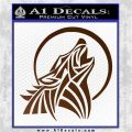 Tribal Wolf Moon Howl V2 Decal Sticker Brown Vinyl 120x120