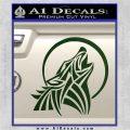 Tribal Wolf Moon Howl V2 Decal Sticker Dark Green Vinyl 120x120