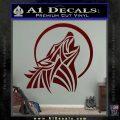 Tribal Wolf Moon Howl V2 Decal Sticker Dark Red Vinyl 120x120