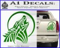 Tribal Wolf Moon Howl V2 Decal Sticker Green Vinyl 120x97