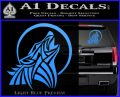 Tribal Wolf Moon Howl V2 Decal Sticker Light Blue Vinyl 120x97