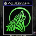 Tribal Wolf Moon Howl V2 Decal Sticker Lime Green Vinyl 120x120