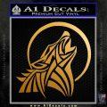 Tribal Wolf Moon Howl V2 Decal Sticker Metallic Gold Vinyl 120x120