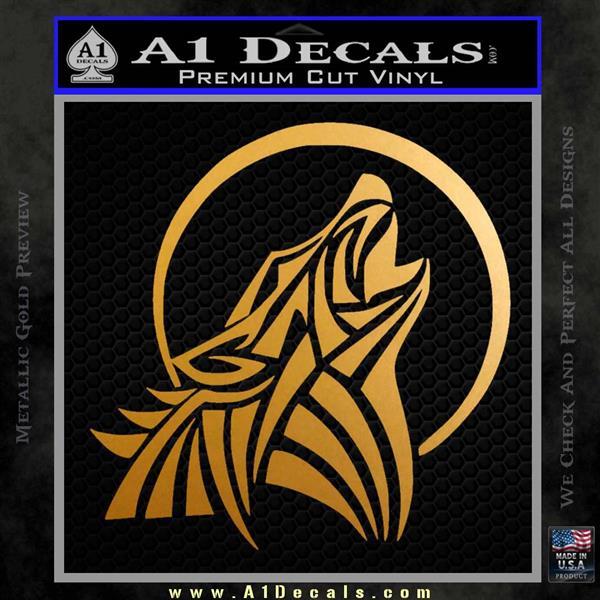 Tribal Wolf Moon Howl V2 Decal Sticker Metallic Gold Vinyl