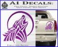 Tribal Wolf Moon Howl V2 Decal Sticker Purple Vinyl 120x97