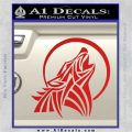 Tribal Wolf Moon Howl V2 Decal Sticker Red Vinyl 120x120