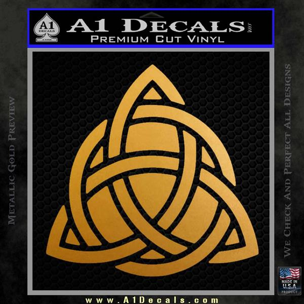 Trinity Knot Triquetra D2 Decal Sticker Metallic Gold Vinyl