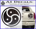 Triple Yin Yang Decal Sticker Carbon Fiber Black 120x97