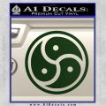 Triple Yin Yang Decal Sticker Dark Green Vinyl 120x120