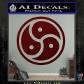 Triple Yin Yang Decal Sticker Dark Red Vinyl 120x120