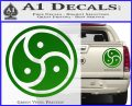 Triple Yin Yang Decal Sticker Green Vinyl 120x97