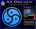 Triple Yin Yang Decal Sticker Light Blue Vinyl 120x97