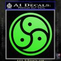 Triple Yin Yang Decal Sticker Lime Green Vinyl 120x120