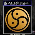Triple Yin Yang Decal Sticker Metallic Gold Vinyl 120x120