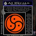 Triple Yin Yang Decal Sticker Orange Vinyl Emblem 120x120