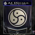 Triple Yin Yang Decal Sticker Silver Vinyl 120x120