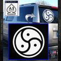 Triple Yin Yang Decal Sticker White Vinyl Emblem 120x120
