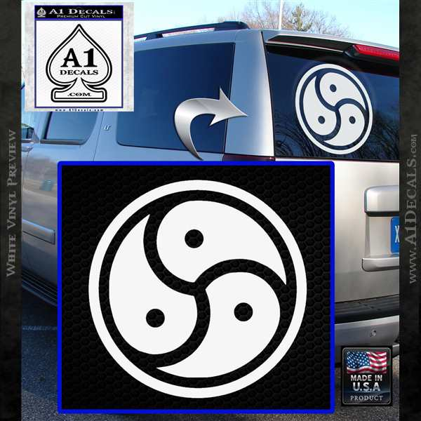Triple Yin Yang Decal Sticker White Vinyl Emblem