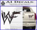 WWF Wrestling Logo Decal Sticker Retro D1 WWE Carbon Fiber Black 120x97