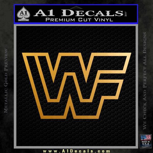 WWF Wrestling Logo Decal Sticker Retro D2 WWE Metallic Gold Vinyl